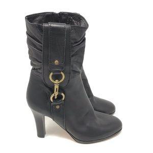 Coach Boots Torree Leather Zip Stacked Heel Calf